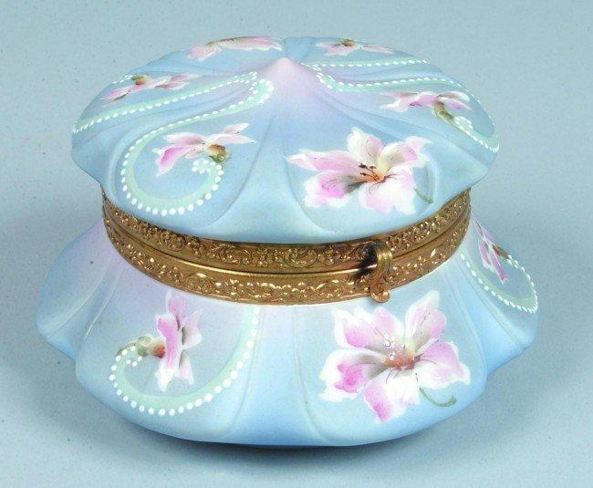 7: C.F. Monroe Nakara Victorian Art Glass Bureau Box wi