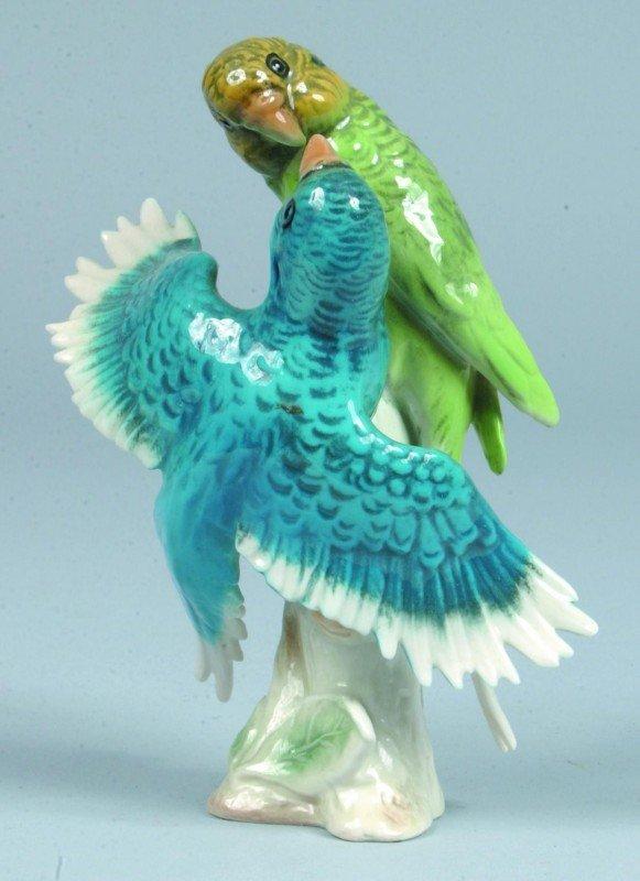 8: Goebel Porcelain Double Parakeet Figurine, #CV95, th