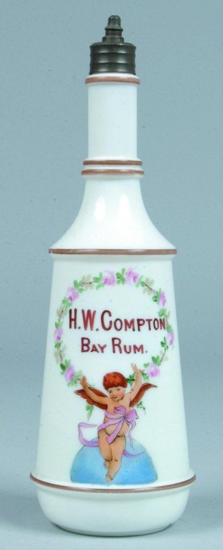 """11: Opaque White Glass Barber Bottle marked """"H.W. Compt"""
