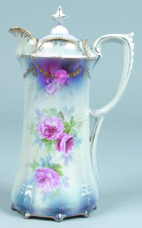 12: RS Prussia Rose Decorated Porcelain Chocolate Pot w