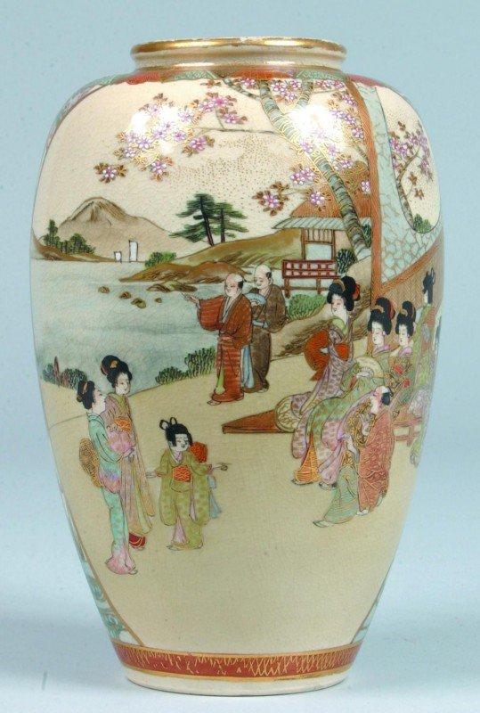 13: 19th Century Satsuma Oriental Porcelain Vase, Keio