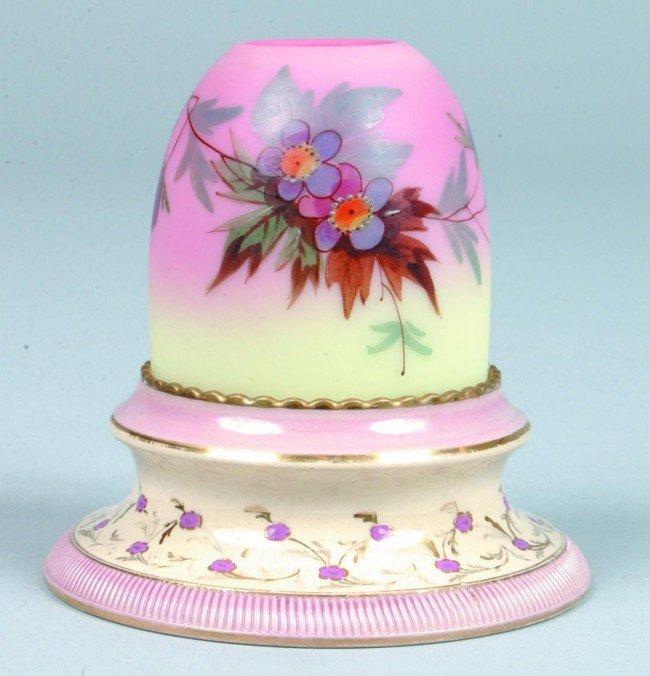 15: Fairy Lamp with Burmese Art Glass (Webb type) Shade