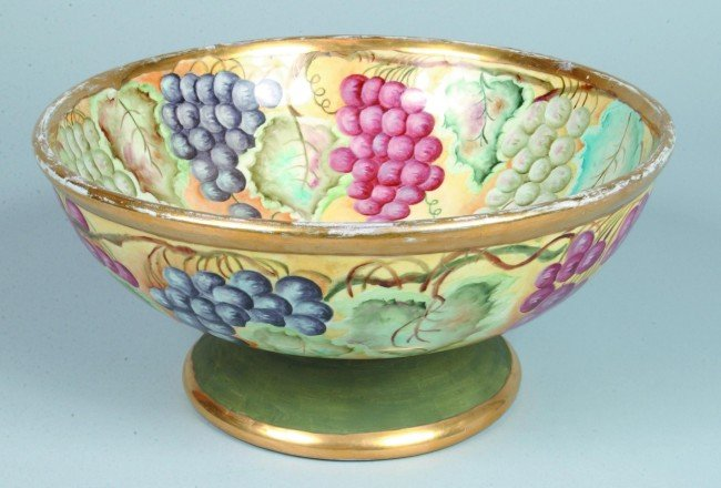 17: Ironstone China Footed Punch Bowl with Grape, Leaf