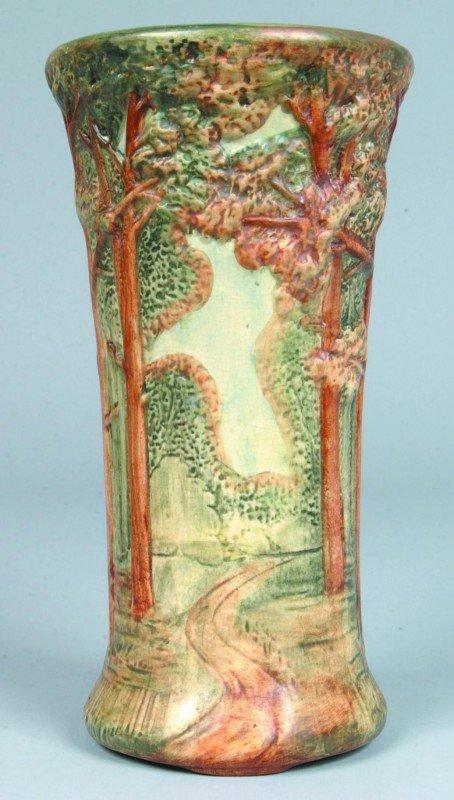 "24: Weller Art Pottery ""Woodland"" Pattern Vase, base ma"