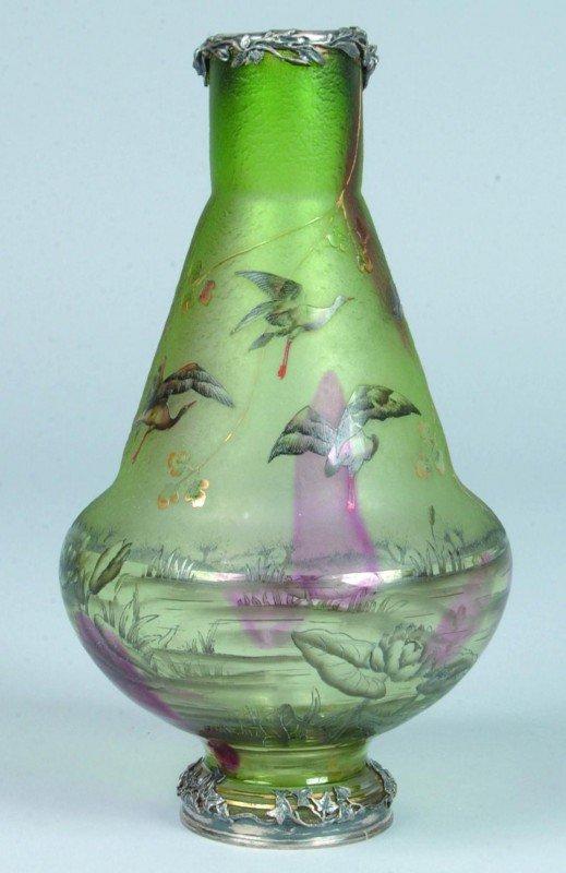 60:  Daum Nancy Silver Mounted Cameo Art Glass Vase, gr