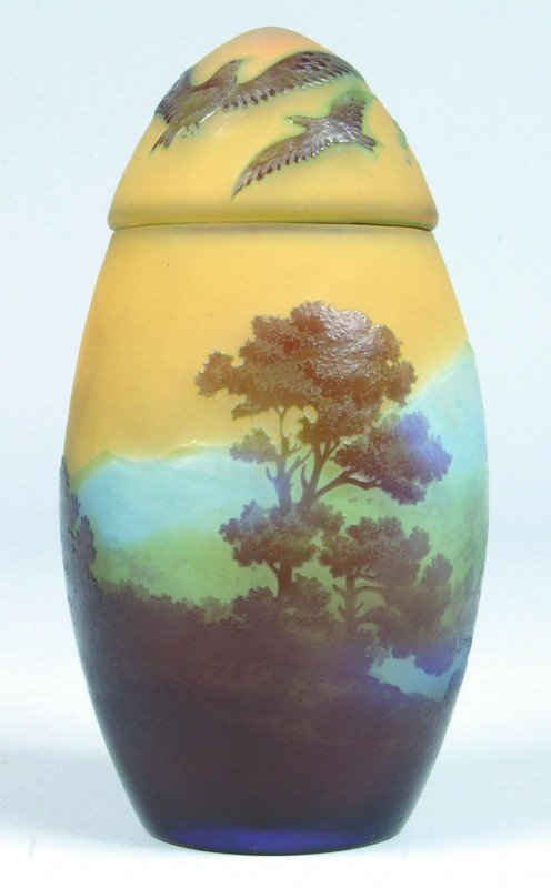 81: Galle' Cameo Art Glass Ovoid Covered Jar with yello