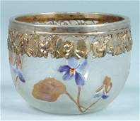 147: Silver Mounted Cameo Art Glass Bowl attributed to