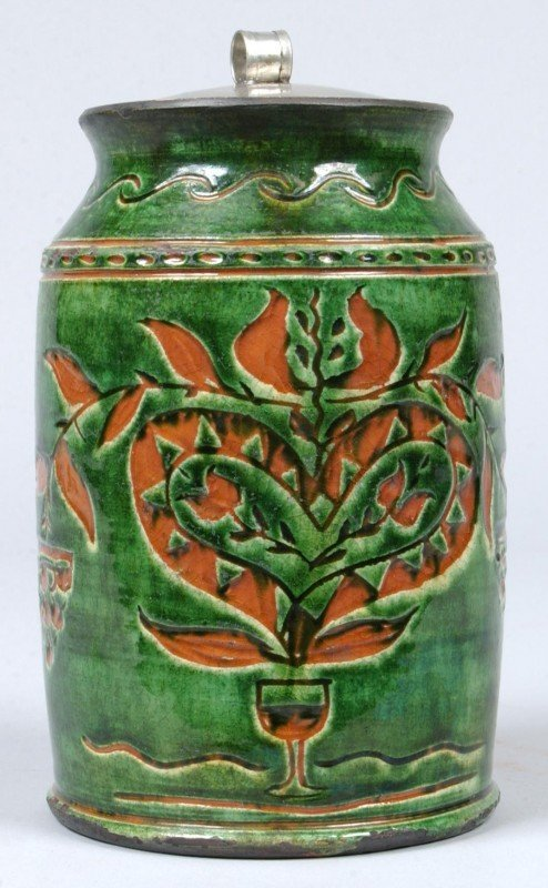 11: Greg Shooner 1996 Redware Pottery Spinach Green gla