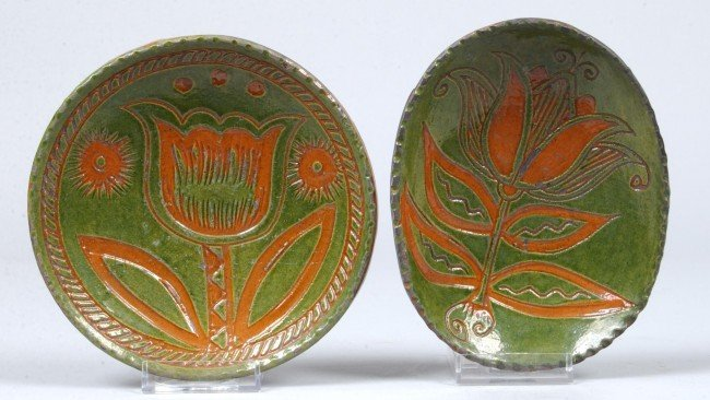 16: Two Greg Shooner 2005 Green Glazed Redware Pottery