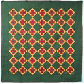 546 Pieced Cotton Quilt 80 x 80 Monkey Wrench patt