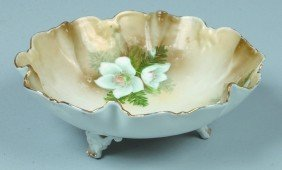 "RS Prussia Footed Bowl, 7""d, Dbl. Scallop With Inter"