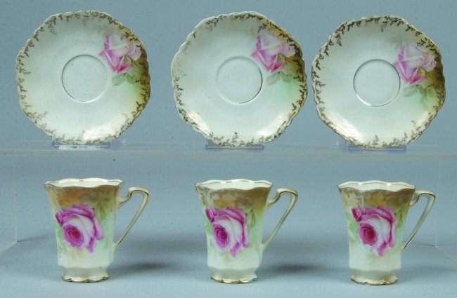 """4: RS Prussia/Germany 3 Cups with saucers, cups 3""""h; sa"""