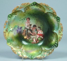 """6: RS Prussia Bowl, 10.5""""d, Mold 82, posies and clover"""