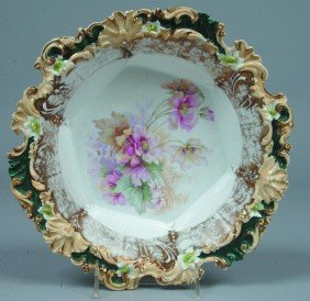 """9: RS Prussia Bowl, 10.5""""d, a floral border mold in bei"""