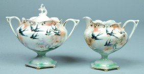 """16: RS Prussia Covered Sugar and Creamer, 4""""h., Mold 60"""