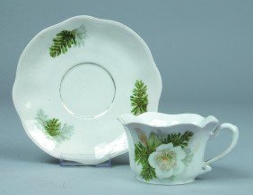 """18: RS Prussia Cup and Saucer, 2.5""""h x 6""""d, Scalloped r"""