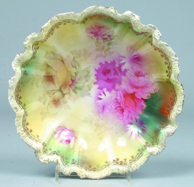 """20: RS Prussia Bowl, 9""""d., Mold 23, stippled floral; FD"""