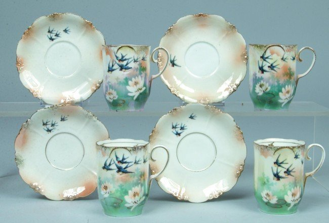"""21: RS Prussia 4 Chocolate Cup and Saucers, 3""""h. x 4""""d."""