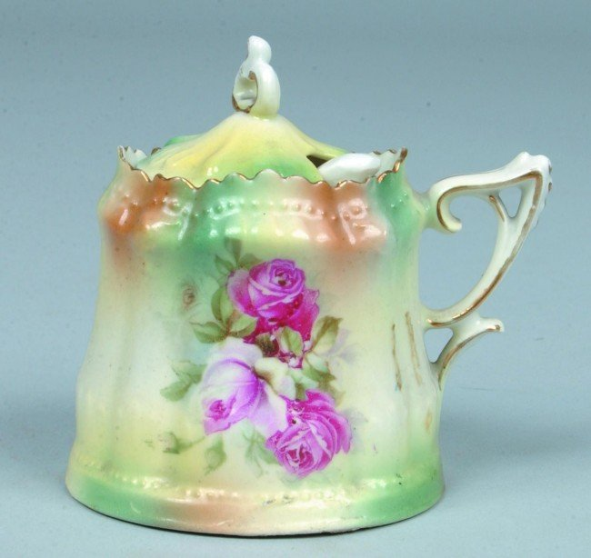 """23: RS Prussia Mustard Pot with ladle, 3""""d. x 3.5""""h., M"""