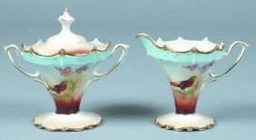 """RS Prussia Covered Sugar And Creamer, 3.75""""h., Mold"""