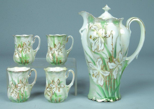 """73: RS Prussia Chocolate Set, Pot, 8""""h.; 4 cups, 3""""h.,"""