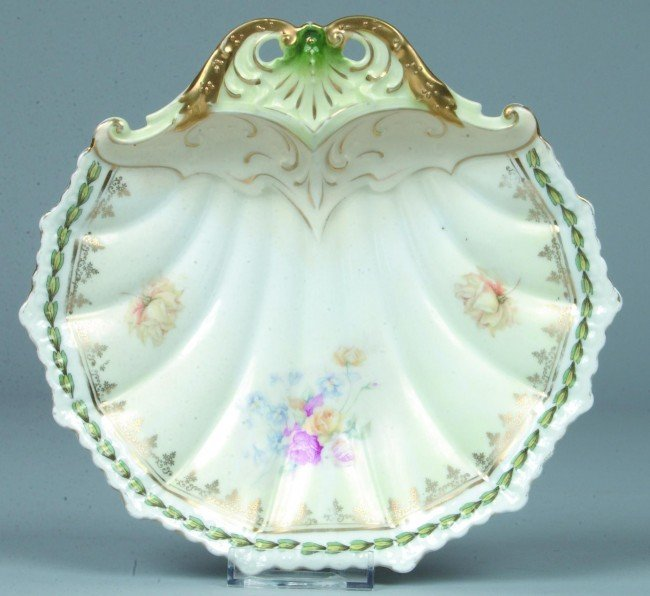 """78: RS Prussia Shell Dish, 8""""d.; Mold 20; Floral spray"""