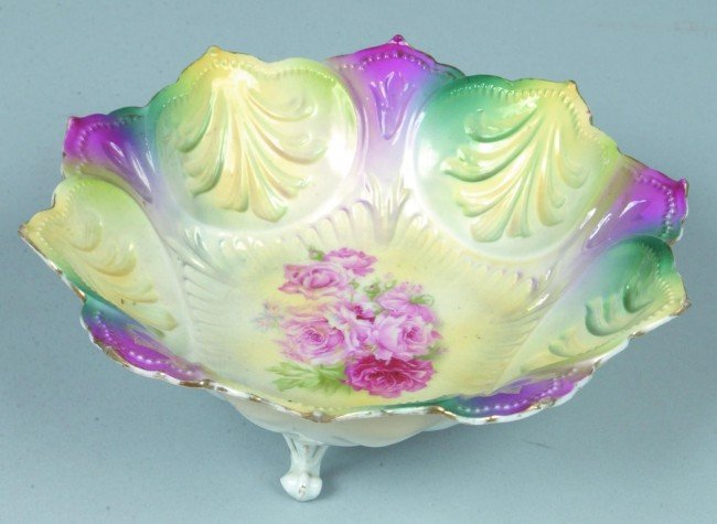 """80: RS Prussia Footed Bowl, 7""""d.; Mold composed of poin"""
