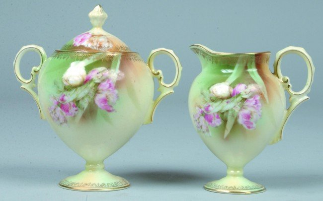 """82: RS Prussia Covered Sugar and Creamer, 4.25""""h.; Mold"""
