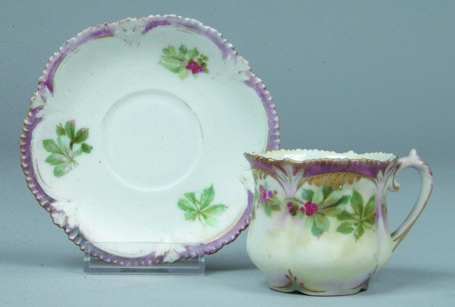 """88: RS Prussia Cup and Saucer, 2""""h. x 4.25""""d.; Mold 513"""