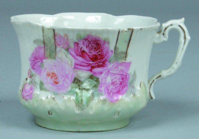 """93: RS Prussia Mustache Cup, 2.5""""h.; Scalloped body wit"""
