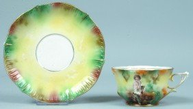 "RS Prussia Cup & Saucer, 2.5""h. X 6.25""d.; Both Pi"