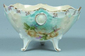 "RS Prussia Footed Bowl, 5.25""d.; Mold 18, Jewel An"