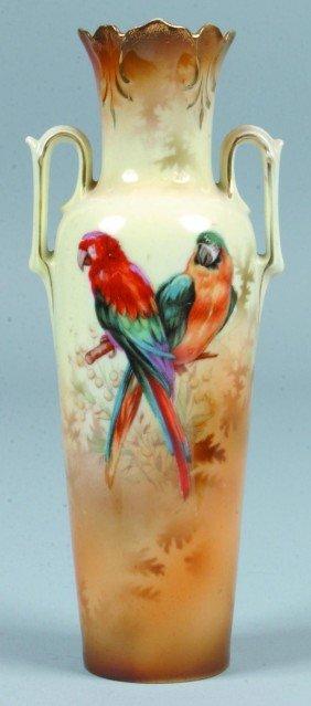 """182: RS Prussia Poland Parrot Vase, 7.75""""h.; Parrots on"""