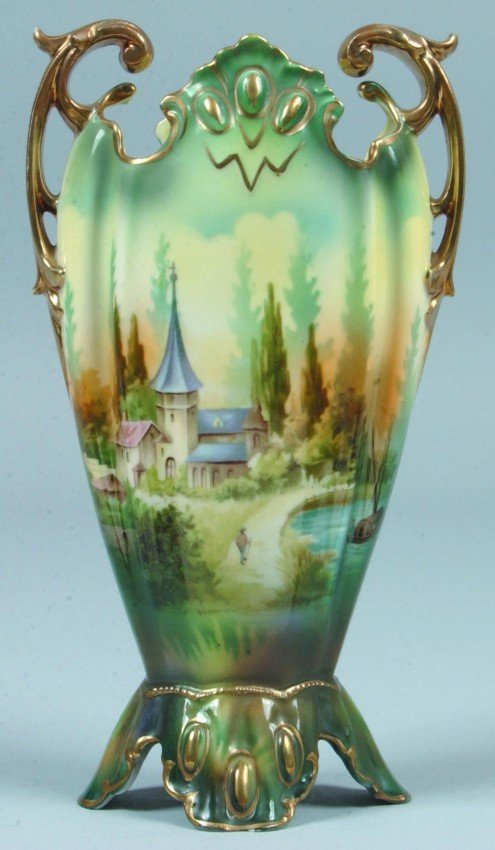 "193: RS Prussia Vase, 9""h.; Ovoid body with jeweled ped"