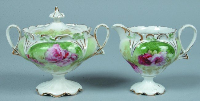 "200: RS Prussia Covered Sugar and Creamer, 3.5""h.; Mold"
