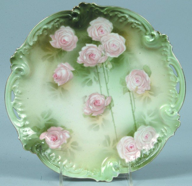 "205: RS Prussia Cake Plate, 9.75""d.; Mold 277; Light pi"