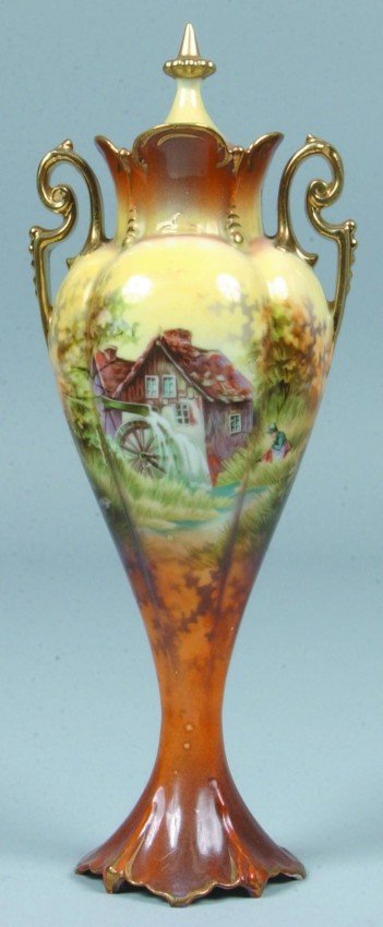 "207: RS Prussia Vase, 9""h.; inverted tear drop shape wi"