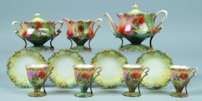 "210: RS Prussia Tea Set, 3""h., 3.25""h., 3.5""h.,4""h.; 11"