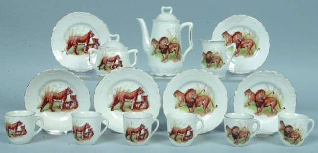 "365: RS Prussia 15piece Child's Tea Set, Pot: 4.25""h.,"