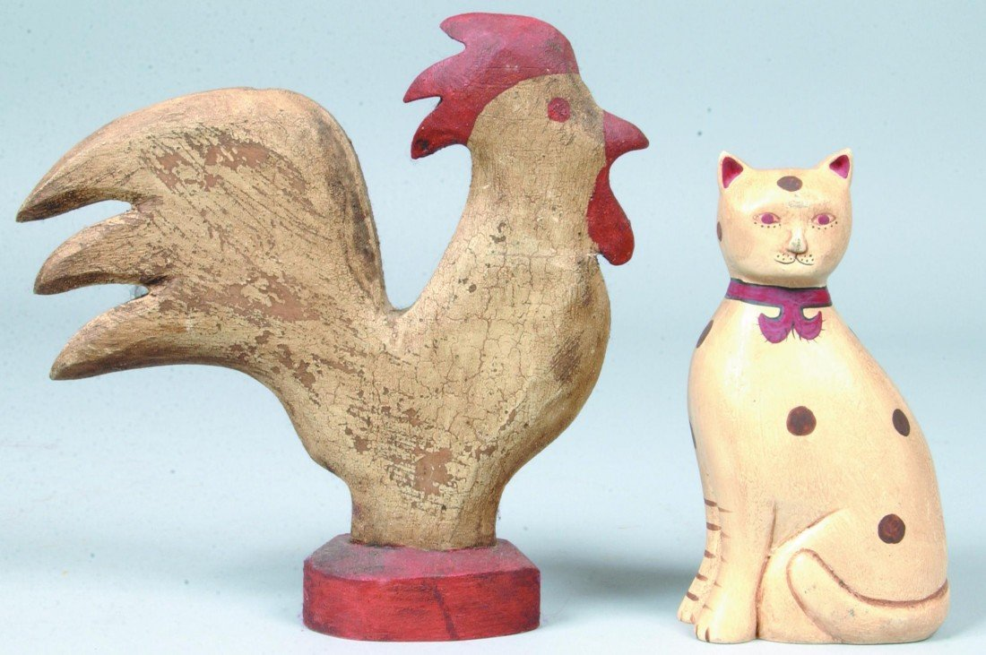 4: Folk Painted Cat and Rooster; white composition cat