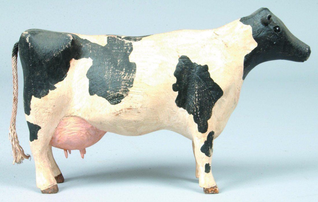 5: Painted Carved Wood Cow; White with black spots, gla