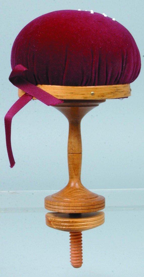 7: Turned Maple Pin Cushion; purple velvet cover on map