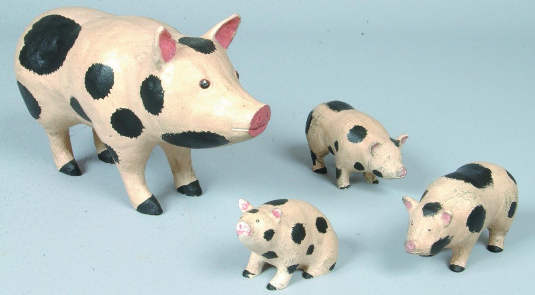 9: Painted Composition Hog and Three Pigs; white with b