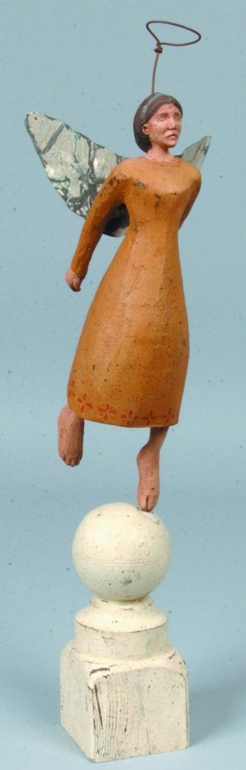 13: Painted Carved Wood Angel on Finial; ochre gown, wh