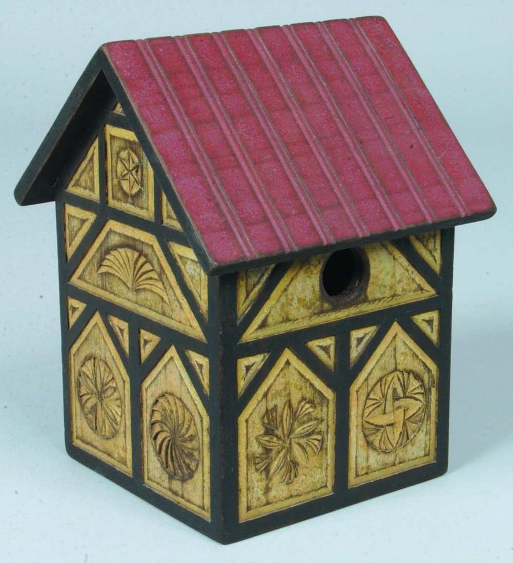 14: Chip Carved and Painted Bird House; red roof, black