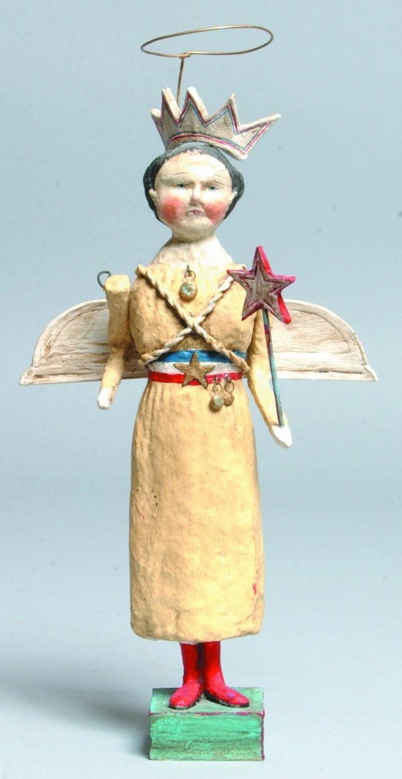 15: Molded Composition Patriotic Angel; white gown, red