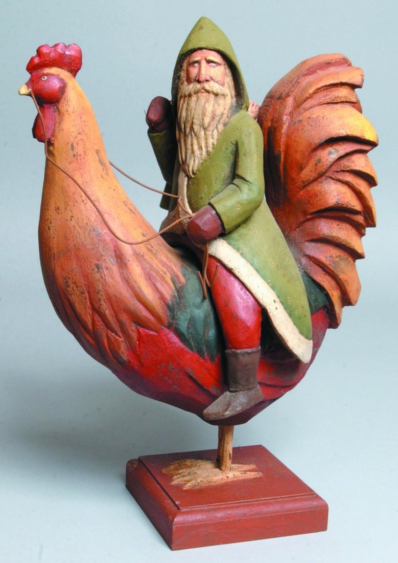 17: Large Carved Wood Santa on Chicken with Gifts; poly