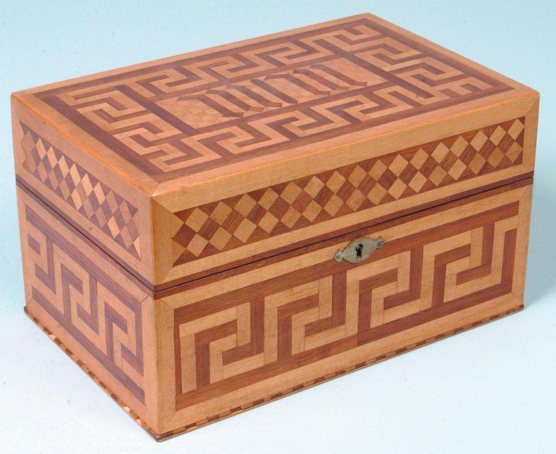 18: Parquet Dresser Box; maple and walnut in Greek key