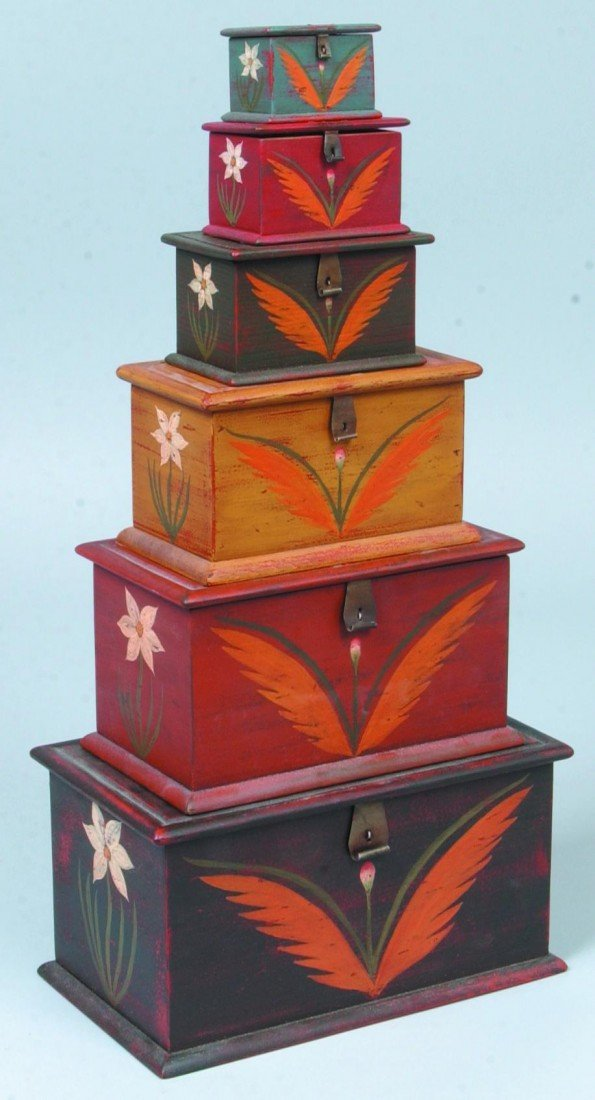 19: Six Graduated Miniature Painted Blanket Boxes; Gray