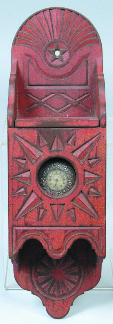 20: Carved and Painted Watch Hutch; red paint, lidded c
